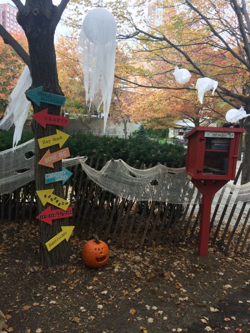 The Little Free Library making its Halloween party debut! October 25, 2015